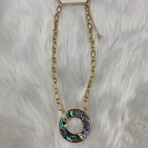 4/$20 A New Day Green Abalone Ring Gold Necklace